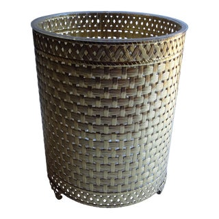 Basket Weave Gold Tone Filigree Footed Waste Basket Trash Can