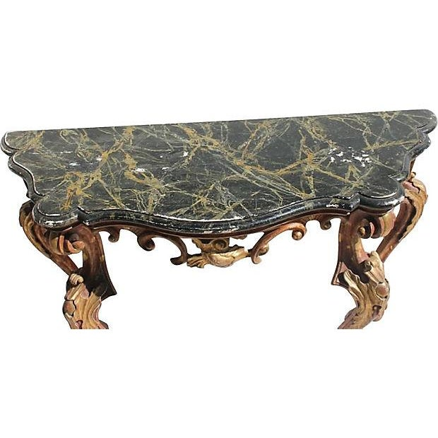 French Rococo Giltwood Console Table - Image 3 of 4