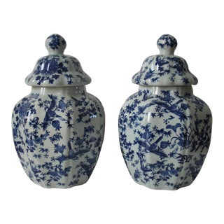 Octagonal GingerJars Patterned in Birds & Flowers - A Pair