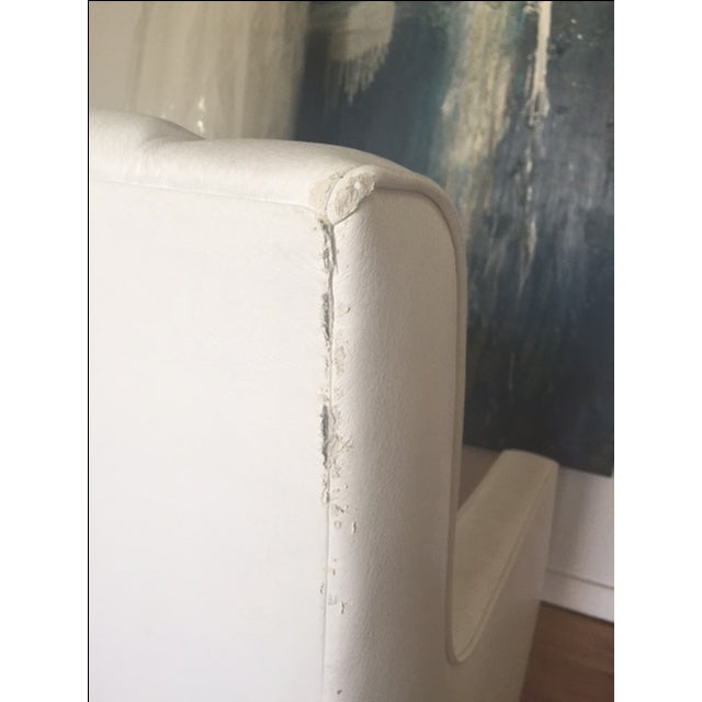White Faux Leather Swivel Rocking Chair - Image 7 of 7