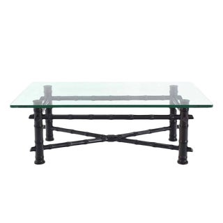 Faux Bamboo Black Lacquer Glass Top Coffee Table