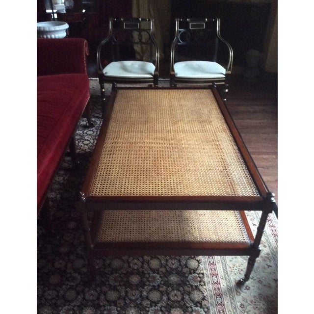 Baker Milling Road British Colonial Mahogany & Cane Cocktail Table - Image 6 of 6