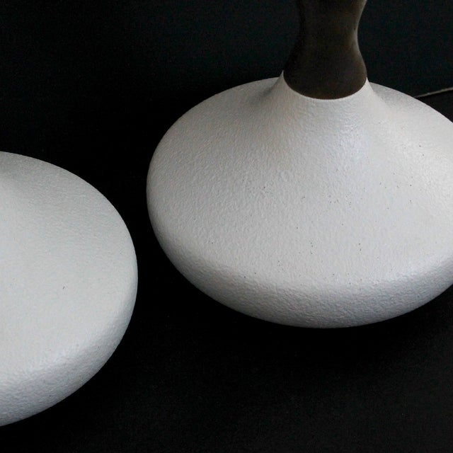 Danish Modern Sculptural White Pottery Lamps, Pair - Image 3 of 7