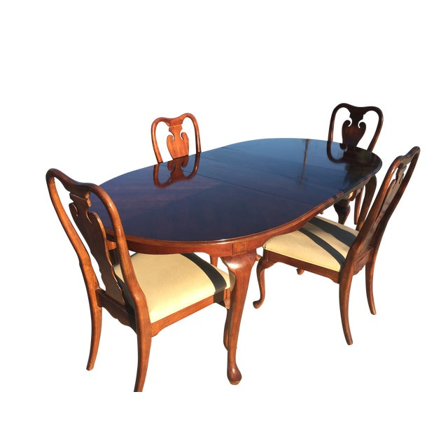 Queen Anne Cherry Wood Dining Set Table Chairs Chairish