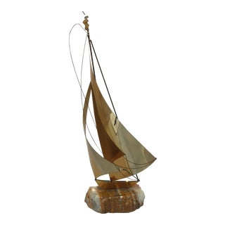 Vintage Mid-Century Brass Sailboat