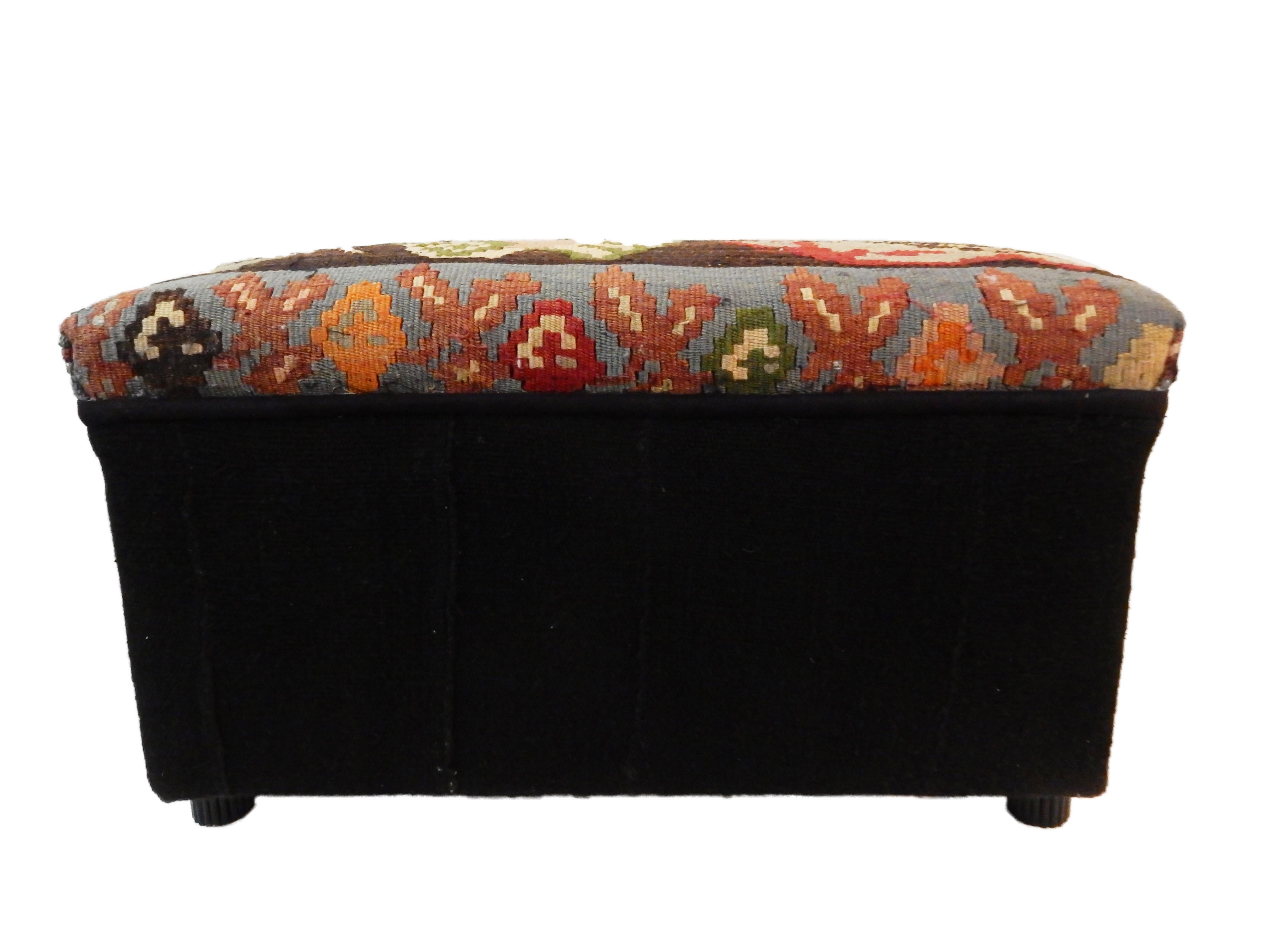 tribal kilim rug u0026 african mud cloth ottoman image 4