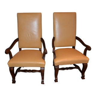 Century Edelman Calfskin Leather Dining End Chairs - Pair