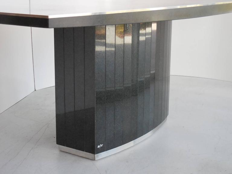 Rare Black Granite And Stainless Steel Dining Table By Willy Rizzo   Image  5 Of 8