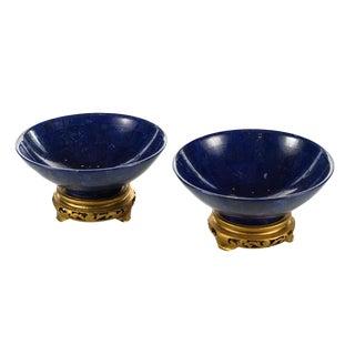 Lapis Lazuli Carved Bowls - Pair