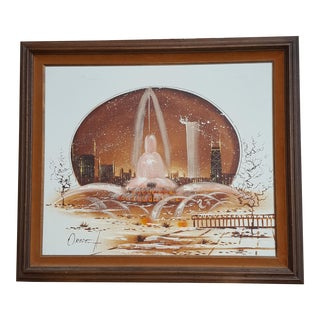 Mid-Century 'Buckingham Fountain' Painting