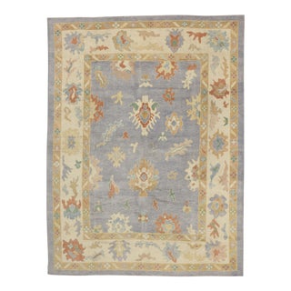 Contemporary Turkish Oushak Rug in Pastel Colors Boho Chic Style, 9'5 x 12'5