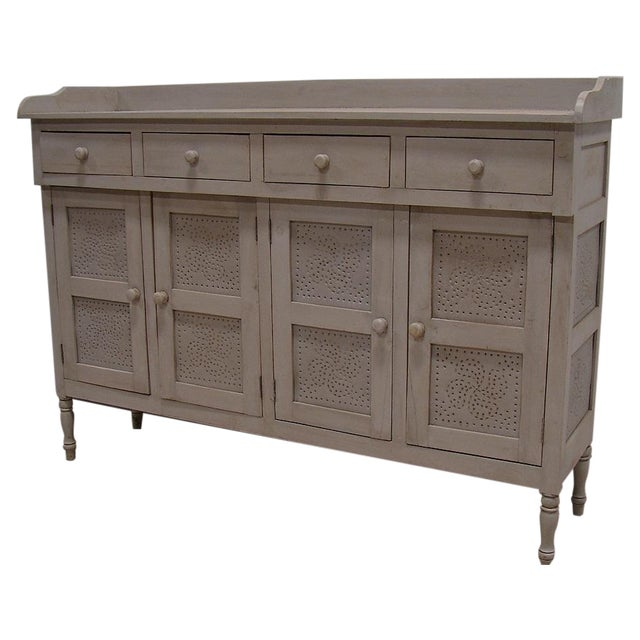 Image of Gray Paint Vintage Style Hutch Server Pie Cabinet