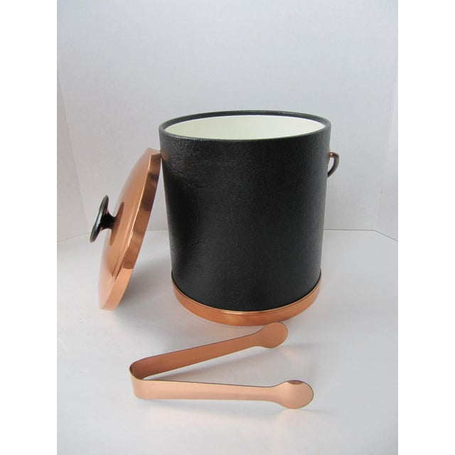 Image of Copper & Faux Black Leather Ice Bucket & Tongs