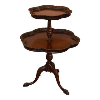 Antique Two-Tier Mahogany Dessert Table