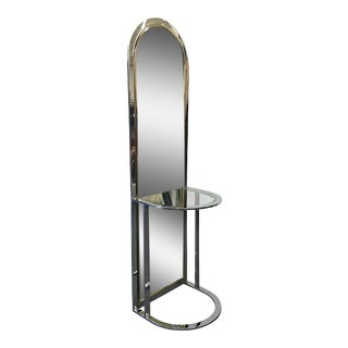 Mid Century Modern Chrome and Brass Standing Floor Dressing Mirror by Pace Collection
