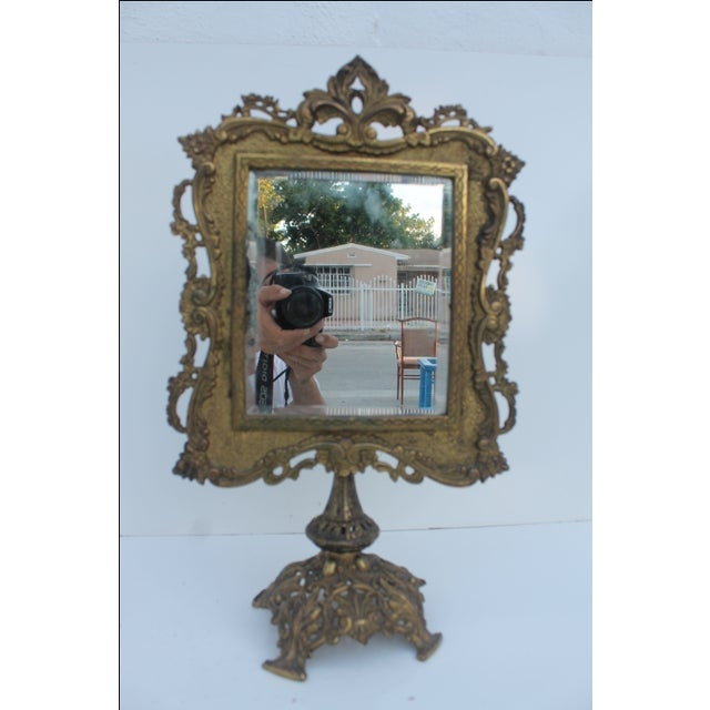Antique French Ornate Gilt Metal Table Mirror - Image 3 of 11