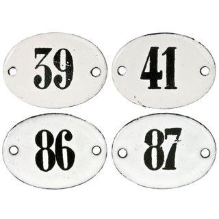 Vintage French Enamel Hotel Room Numbers - S/4
