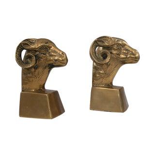 Brass Ram Bookends - Pair