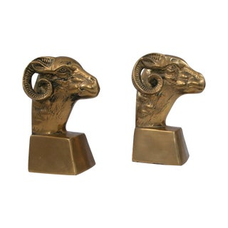 Brass Ram Bookends - Pair