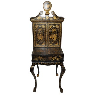 19th-C. Chinoiserie Desk & Sewing Cabinet