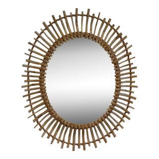 Vintage French Mid-Century Rattan Sunburst Mirror