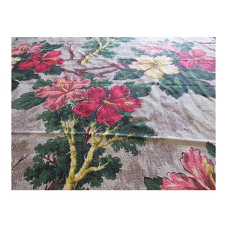 Vintage 1940s Hawaiiana Tropical Hibiscus Flower Barkcloth Panel
