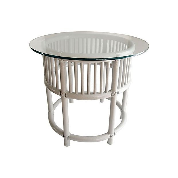 Gray Painted Rattan Side Tables - A Pair - Image 2 of 5