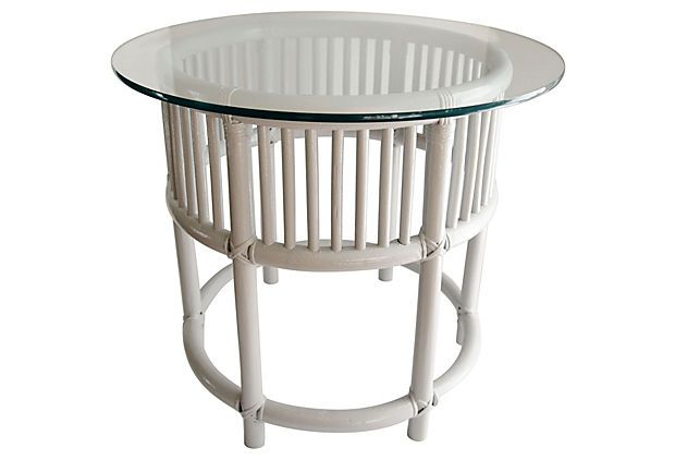 Gray Painted Rattan Side Tables   A Pair   Image 2 Of 5