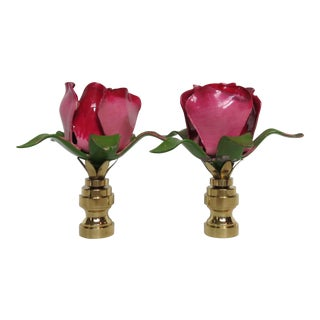 Vintage Italian Tole Rose Finials, Red/Pink/Green, Pair