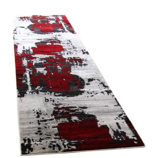 Abstract Red Rug - 3′ × 10′