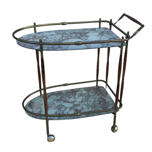1950s Italian Brass & Walnut Bar Cart - Image 1 of 11