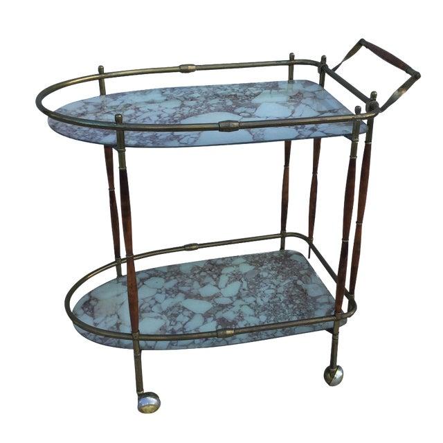 Image of 1950s Italian Brass & Walnut Bar Cart