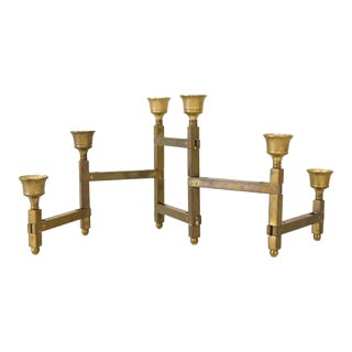 Mid Century Sculptural Brass Candlestick Holder