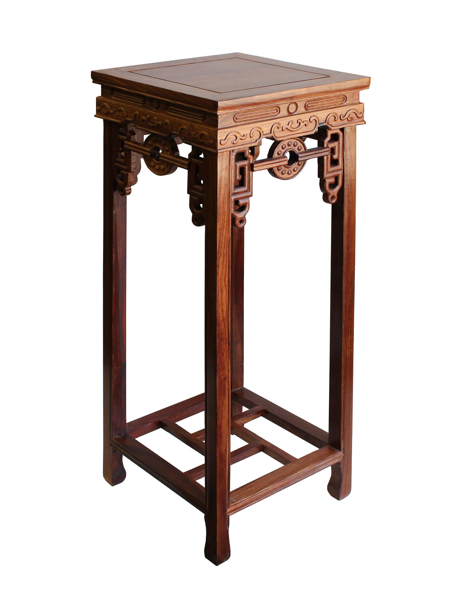 Chinese Medium Brown Wood Square Pedestal Plant Stand Table   Image 3 Of 6