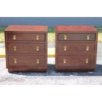 Image of Henredon Cherry Chinoiserie Nightstands - A Pair