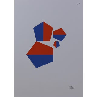 Anton Stankowski Classic Abstract Red & Blue Serigraph