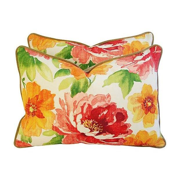 Image of Jewel-Tone Floral Lumbar Pillows - A Pair