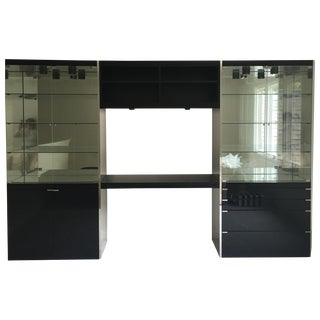 Ello Black Glass Curio Cabinet Desk