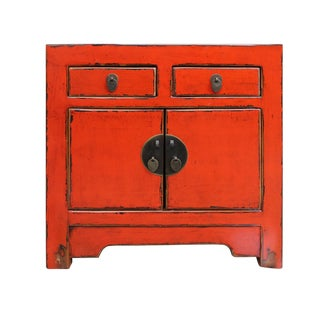 Orange Lacquer Moonface Nightstand