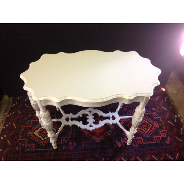Image of Antique Painted White Carved Wood Side Table