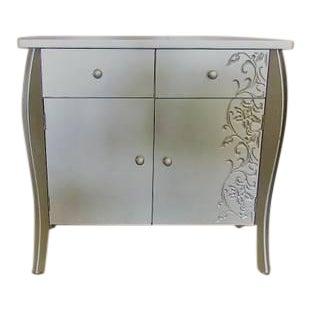 Silver Floral Motif Entryway Cabinet