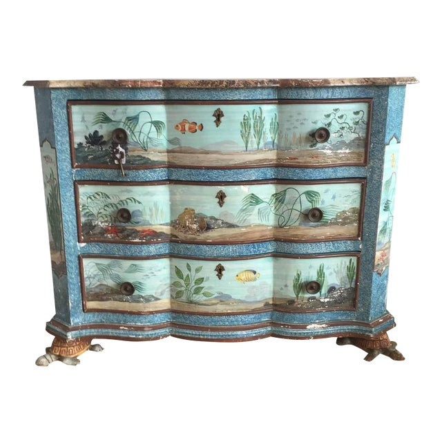 Hand-Painted Aquatic Turtle-Footed Chest Dresser - Image 1 of 8