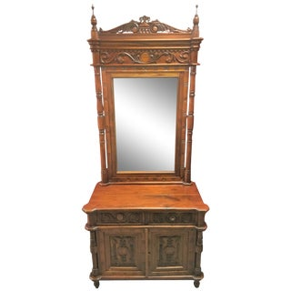 Indonesian Carved Teak Hall Vanity