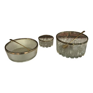 Crystal Silver Plated Rim Thanksgiving Bowls - Set of 3