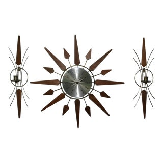 Mid-Century Modern Sears Starburst Clock & Wall Sconces - Set of 3