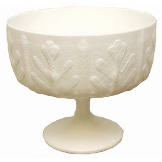 Mid-Century Milk Glass Pedestal Bowl