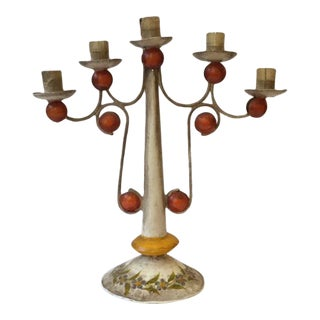 Vintage Mexican Tole Painted Tin Candelabra