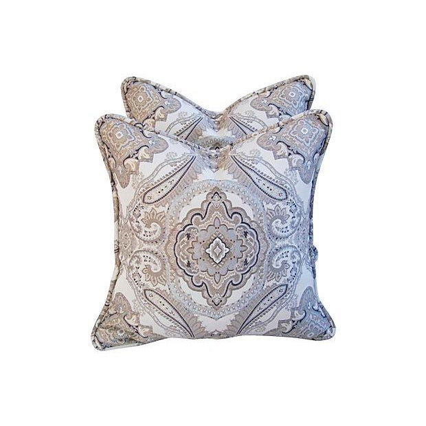 Rodin Pewter Medallion Pillows - A Pair - Image 2 of 6