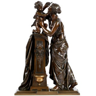 Napoleon III Bronze Sculpture of Woman and Child by Susse Freres, 19th Century