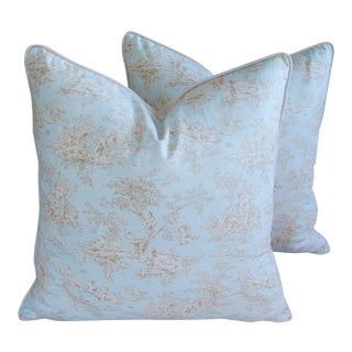 Designer French Blue & White Toile Pillows - a Pair